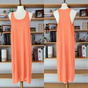 EILEEN FISHER orange pink striped linen maxi LG